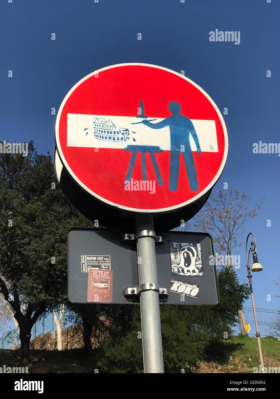 Colosseum road sign by Clet Abraham Stock Photo