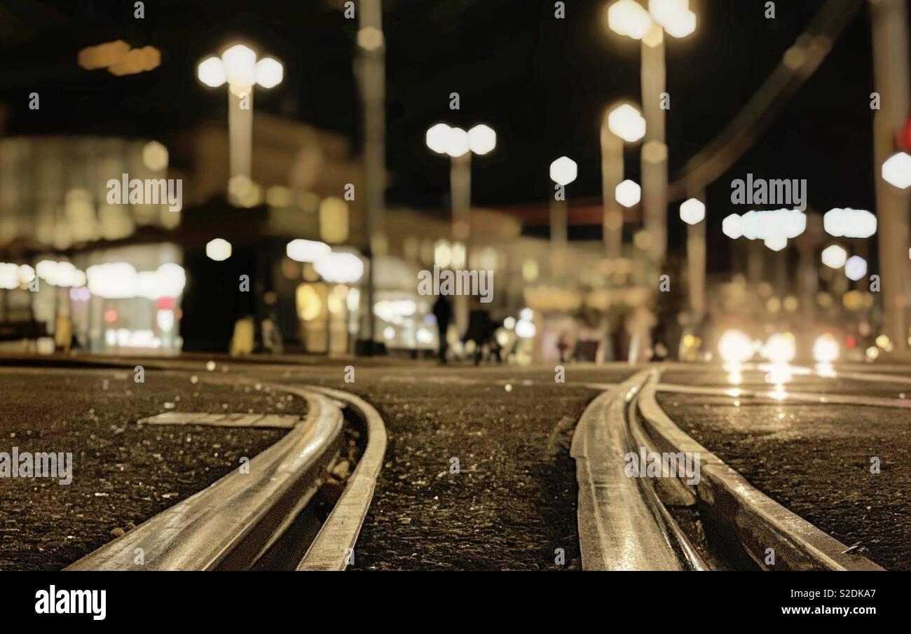 Rail de train regard sur Genève - Stock Image
