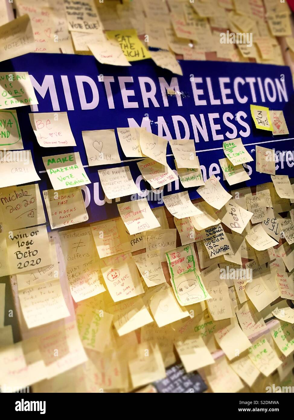Public bulletin board soliciting comments on the 2018 midterm election, NYC, USA - Stock Image