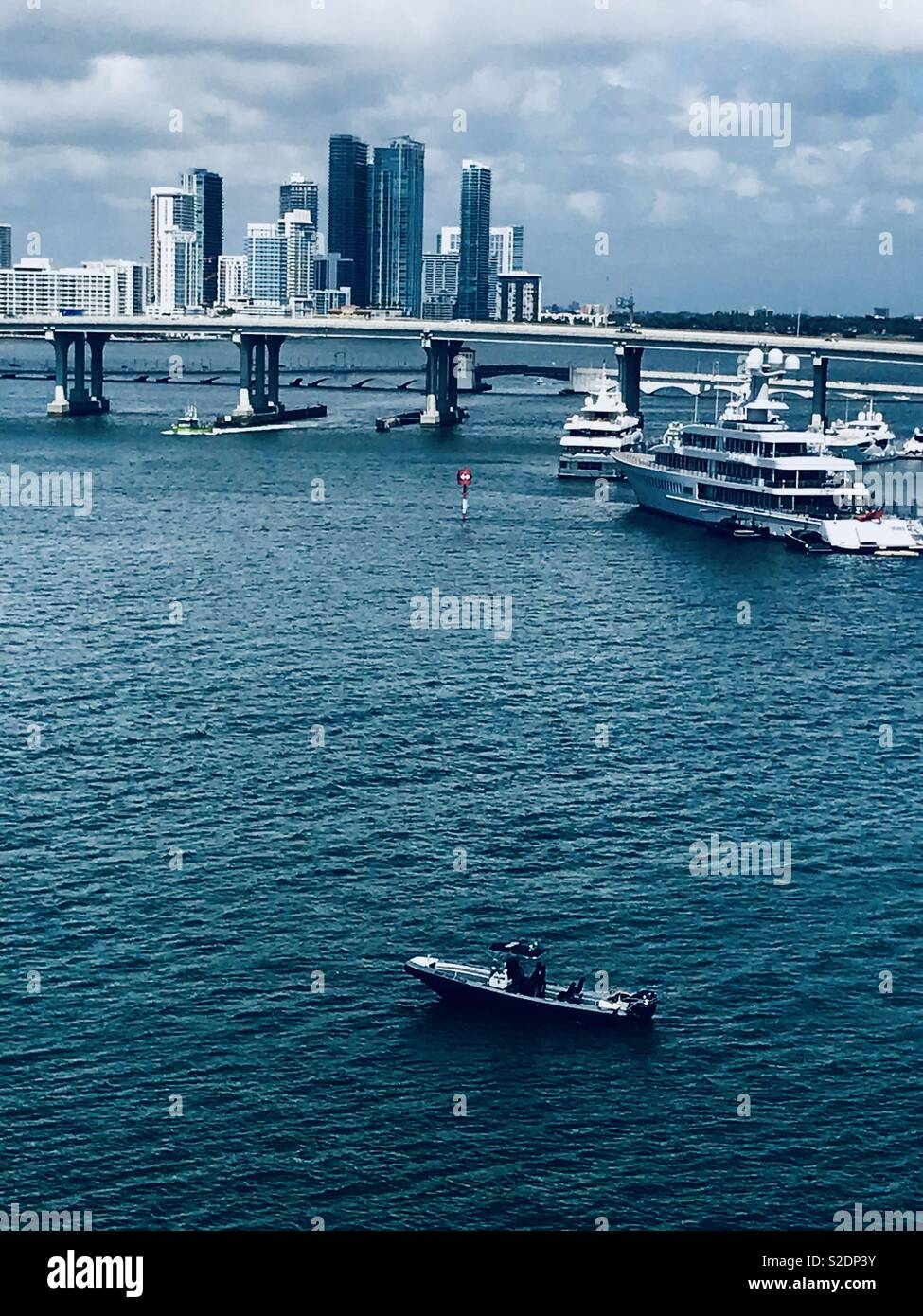 Cruise Liners are docked in Miami Harbour, Florida - Stock Image