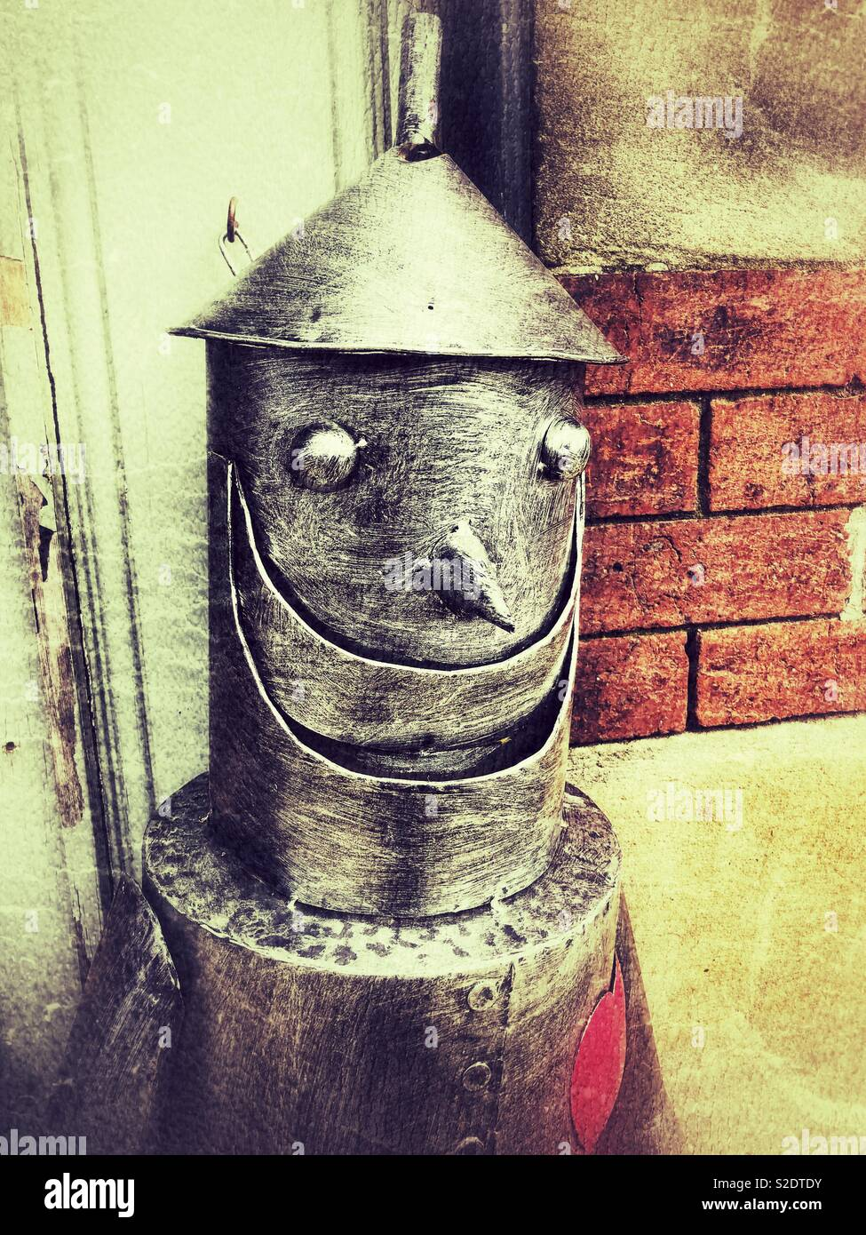 Head of The Tin Man from the Wizard of Oz advertising sculpture - Stock Image