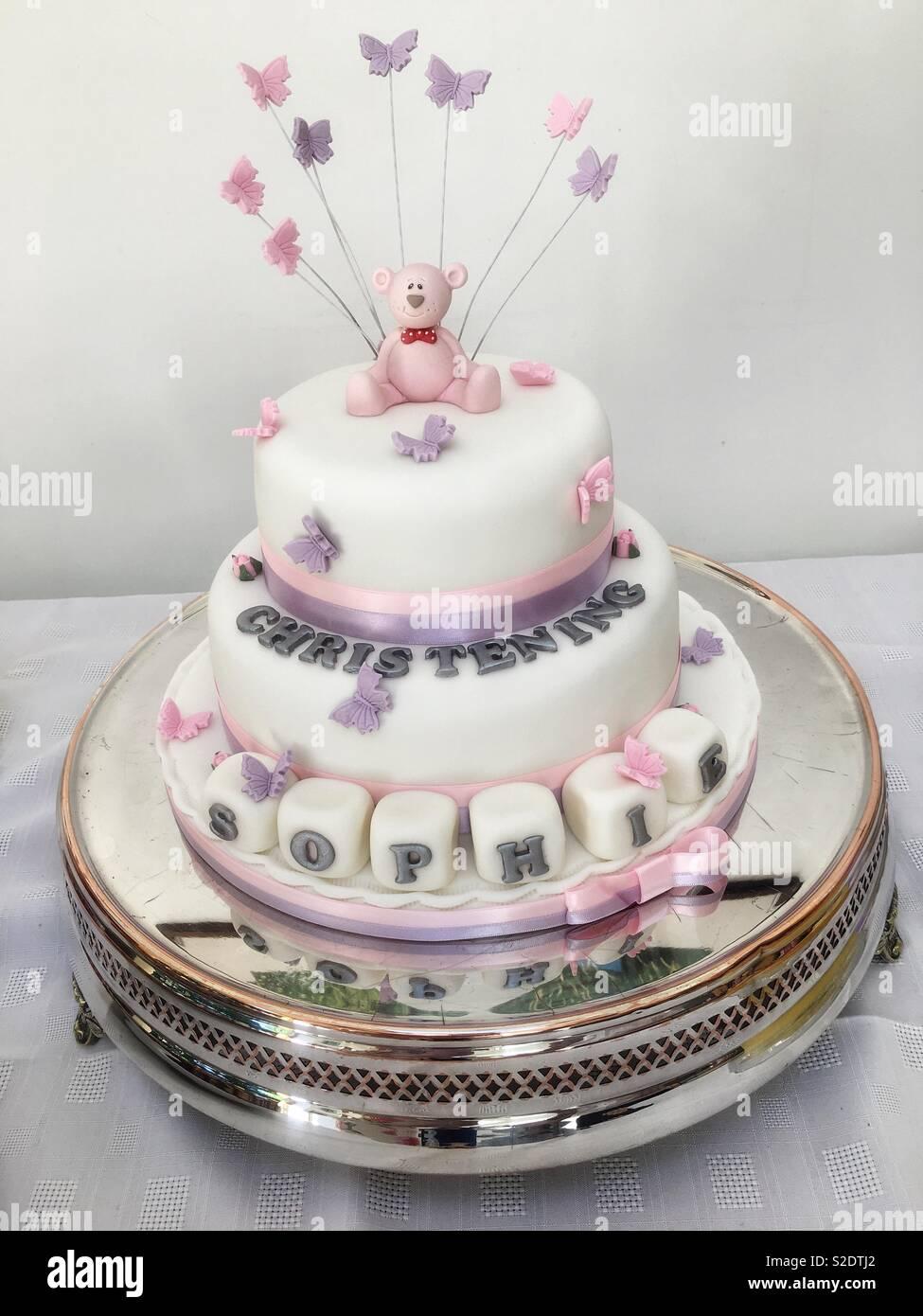 Girls christening cake - Stock Image