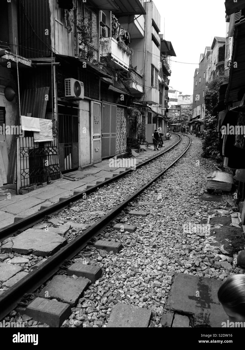Train street in hanoi vietnam black and white photography
