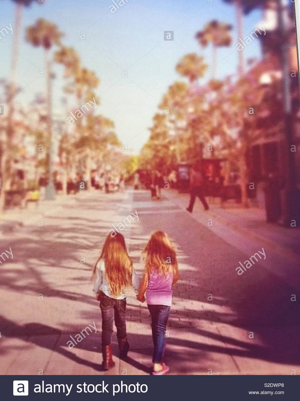 Two young girls walking away down a palm tree lined pathway in Santa Monica, California - Stock Image
