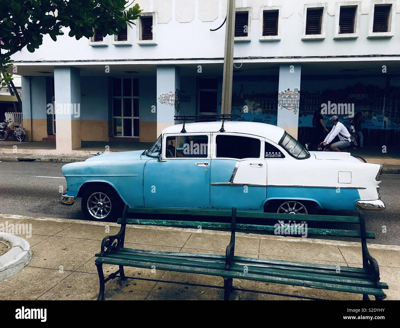 Blue and white classic car in Cienfuegos Cuba - Stock Image