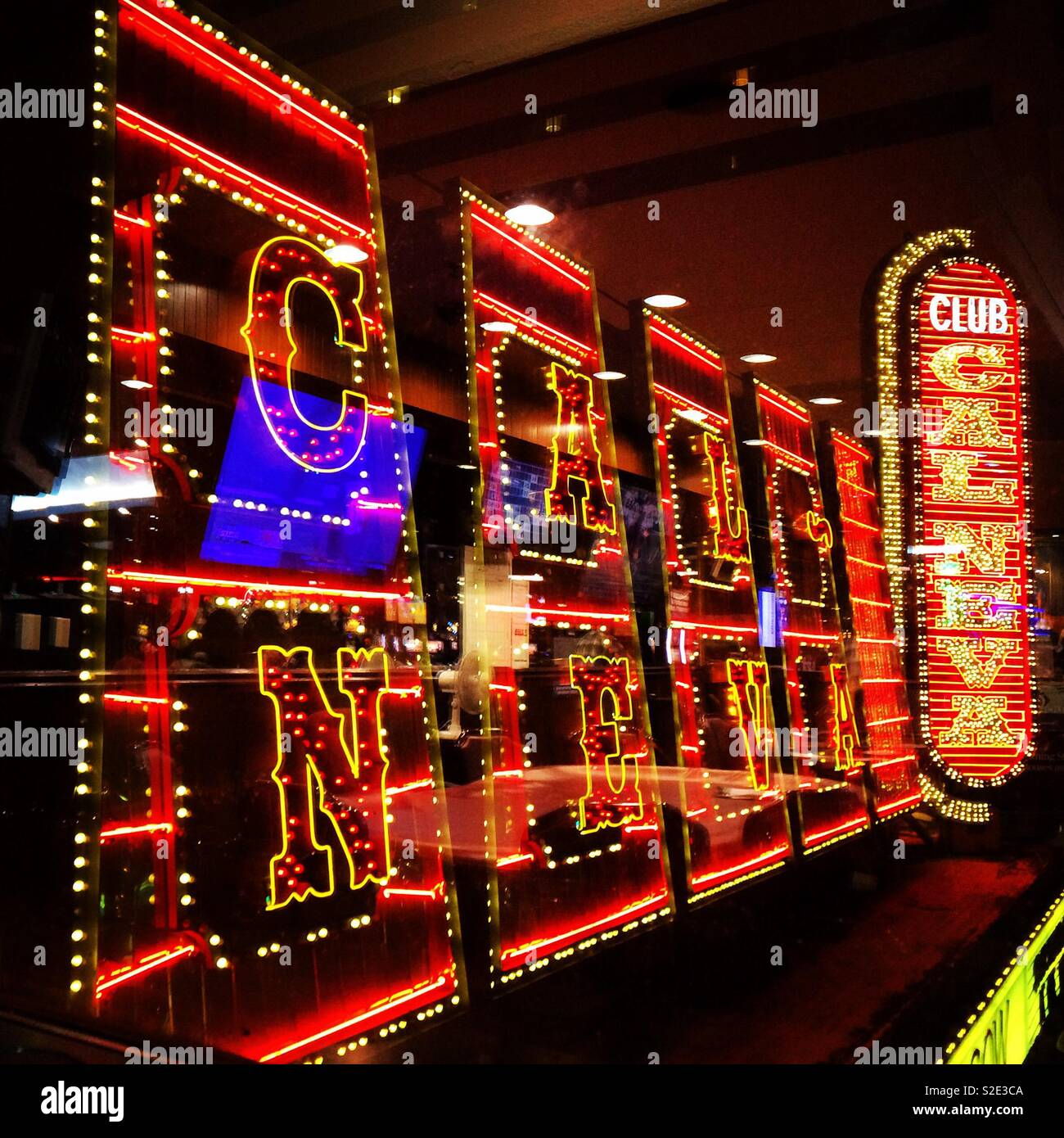 Lighted signs at night, Club Cal Neva, Downtown Reno, United States
