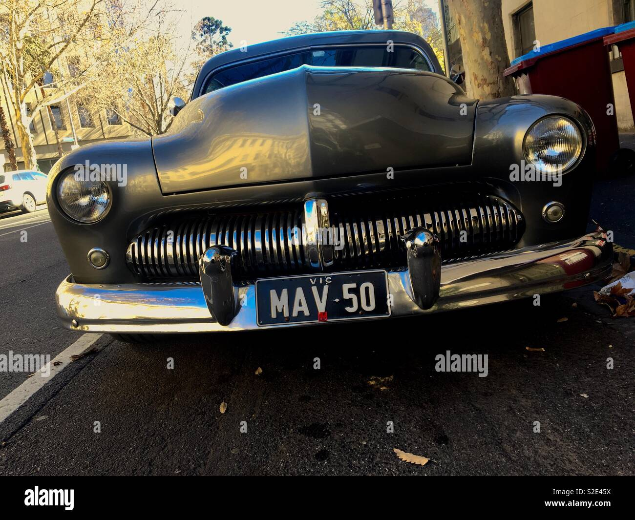 Vintage black car on a Melbourne Street Stock Photo