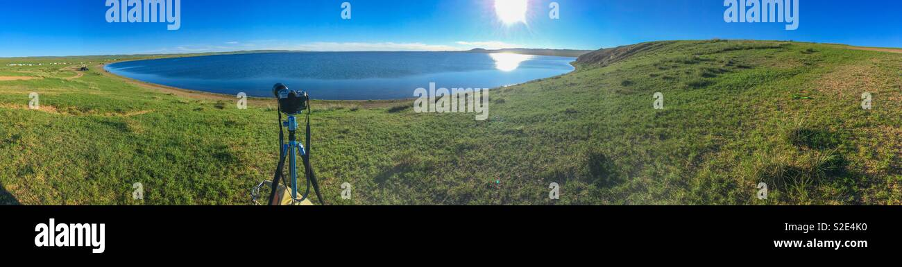 Photographing Lake Ogii in central Mongolia. - Stock Image