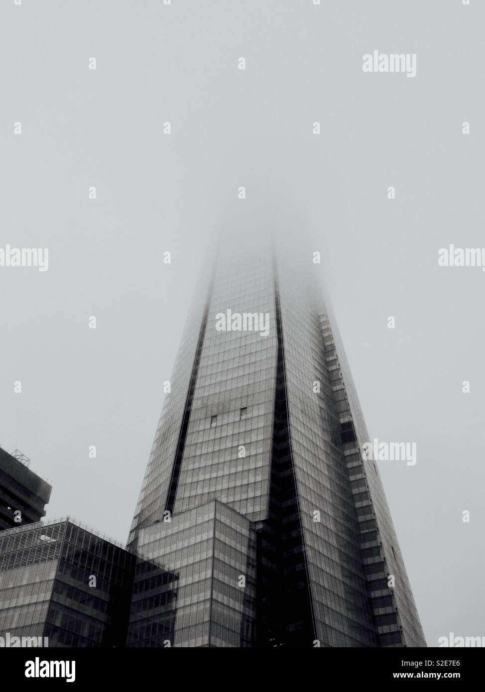 The shard shrouded in fog Stock Photo
