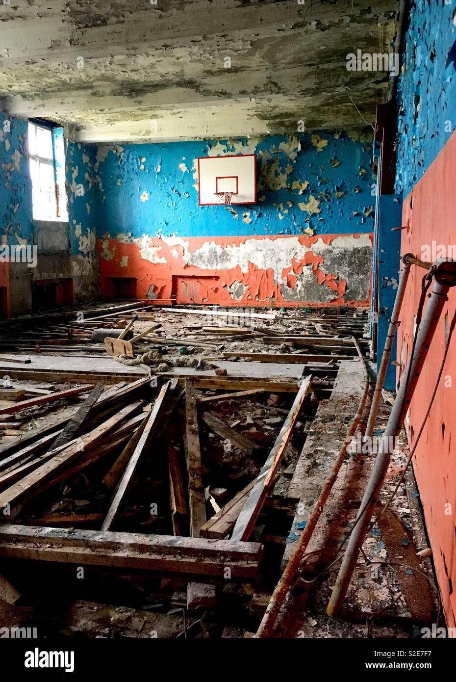 Abandoned school - Stock Image
