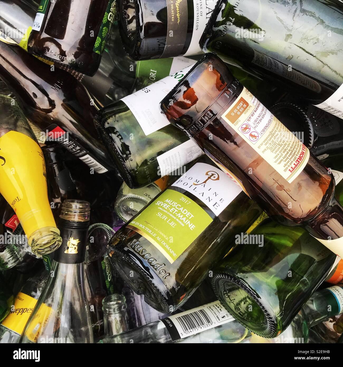 Glass recycling bottle bank full of bottles in UK - Stock Image