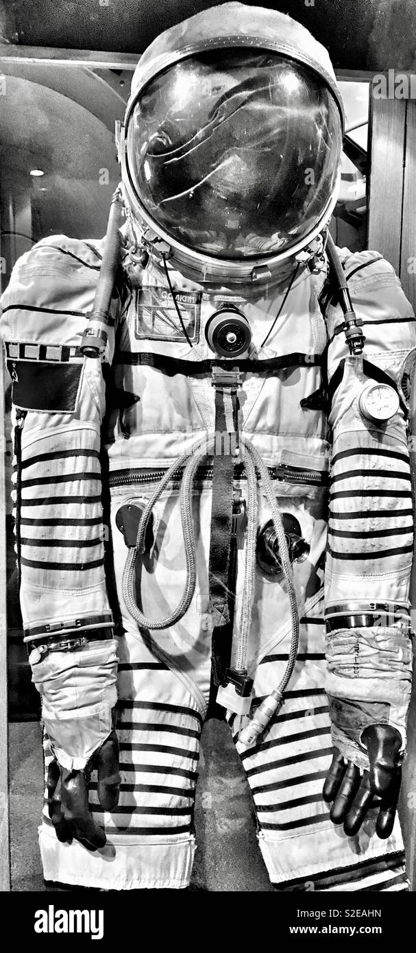 Cosmonaut Space Suit in black and white - Stock Image