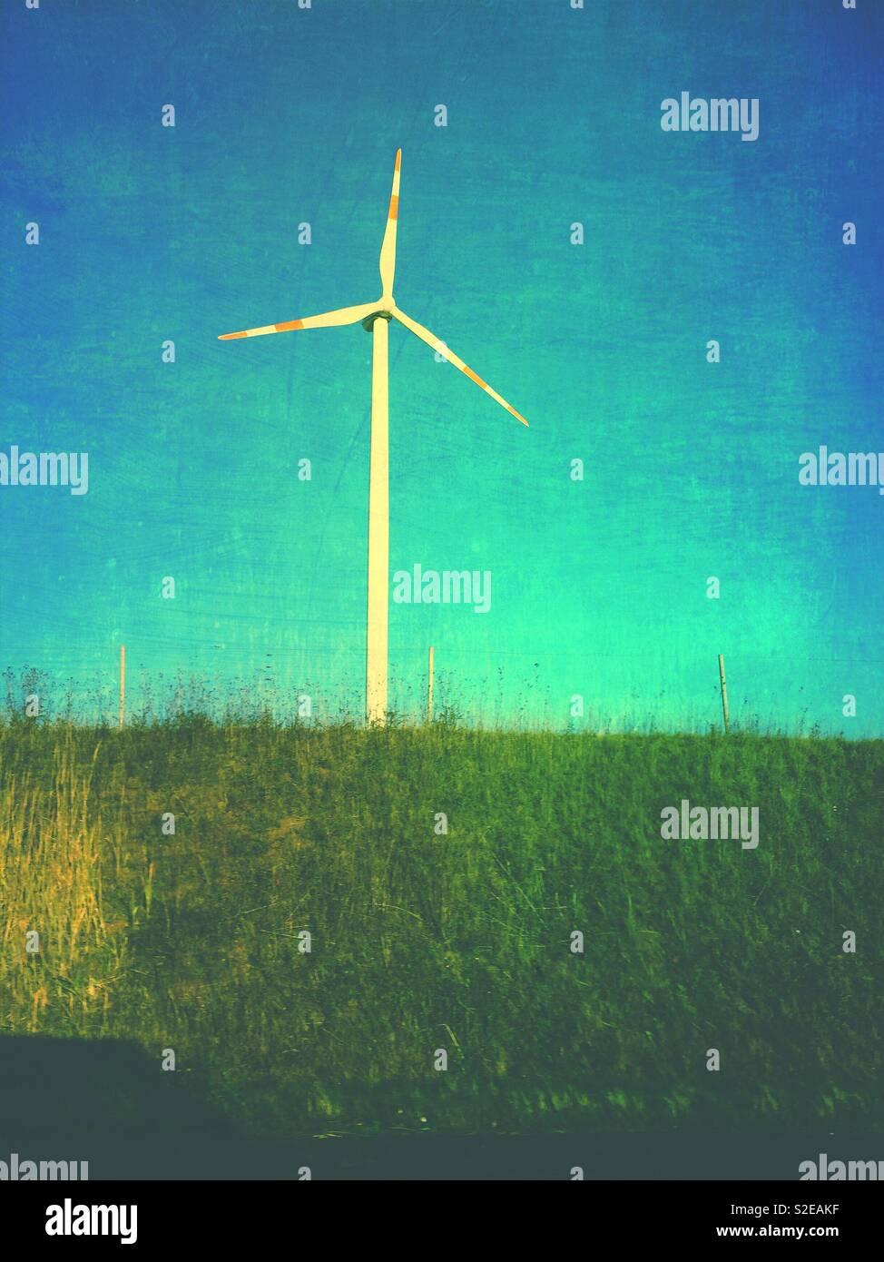 Wind turbine at Mecklenburg Western Pomerania Germany - Stock Image
