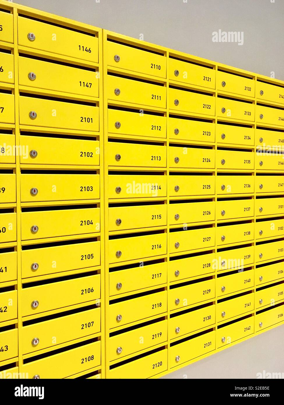 Yellow Mail boxes - Stock Image