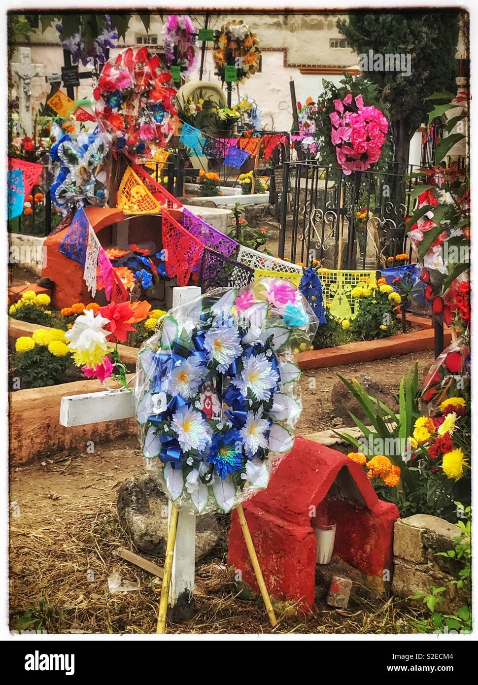 Colorful displays of flowers and decorated gravesites honor deceased loved ones on Día de Los Muertos in Mexico. - Stock Image