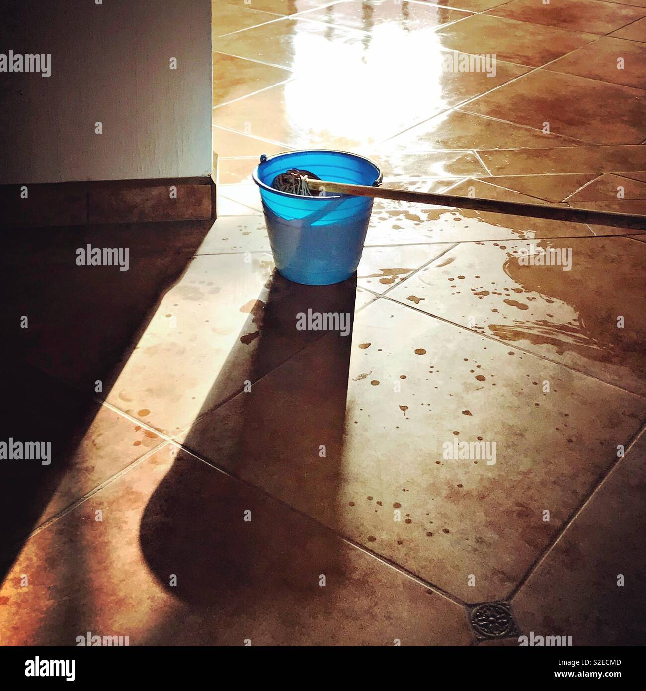 Sunlight pours through a window highlighting a blue bucket and a mop on a tile floor. - Stock Image