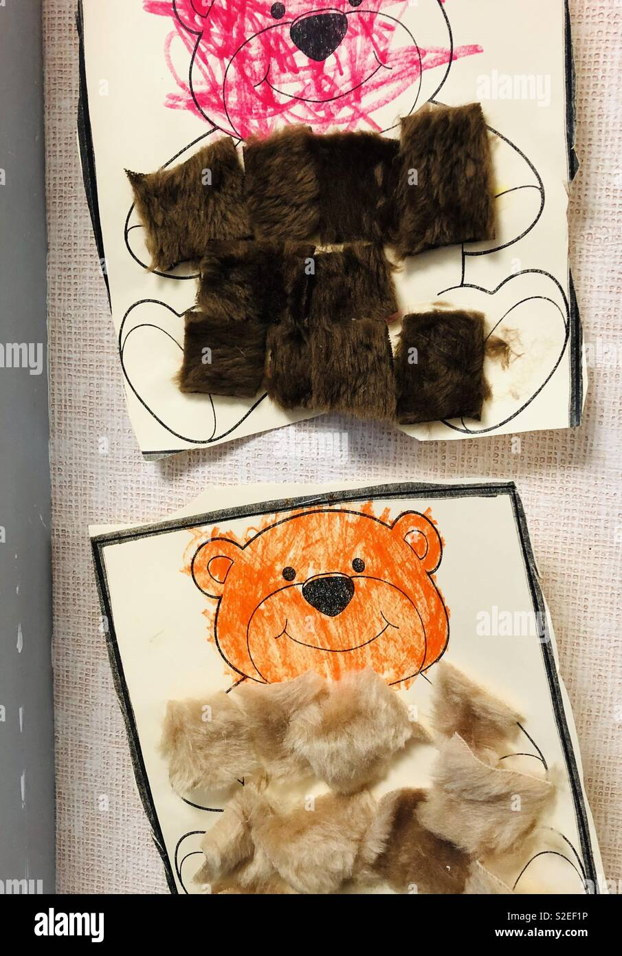Preschool Teddy Bear Craft With Crayons And Fur Stock Photo