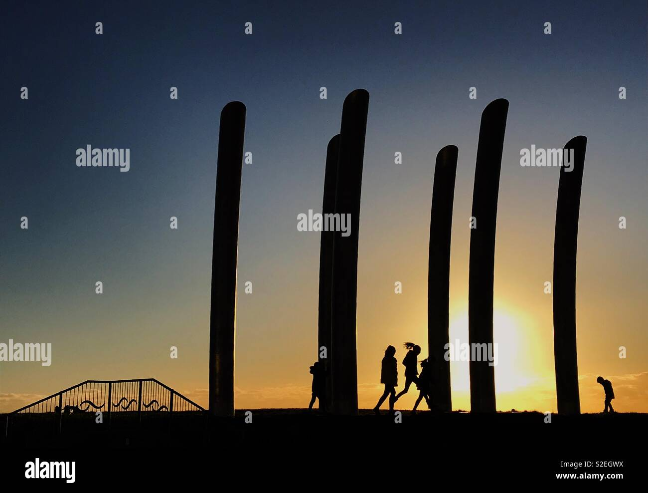 Sunsets and shadows in Blackpool - Stock Image