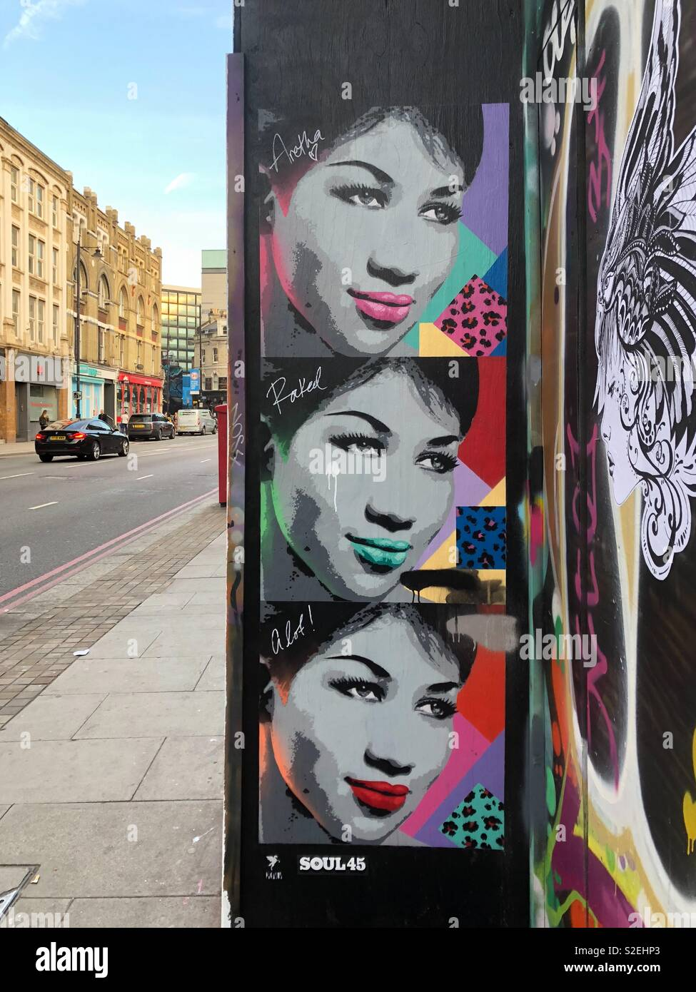 Icon Aretha Franklin pop art style graffiti in hoxton, London, england. Stock Photo