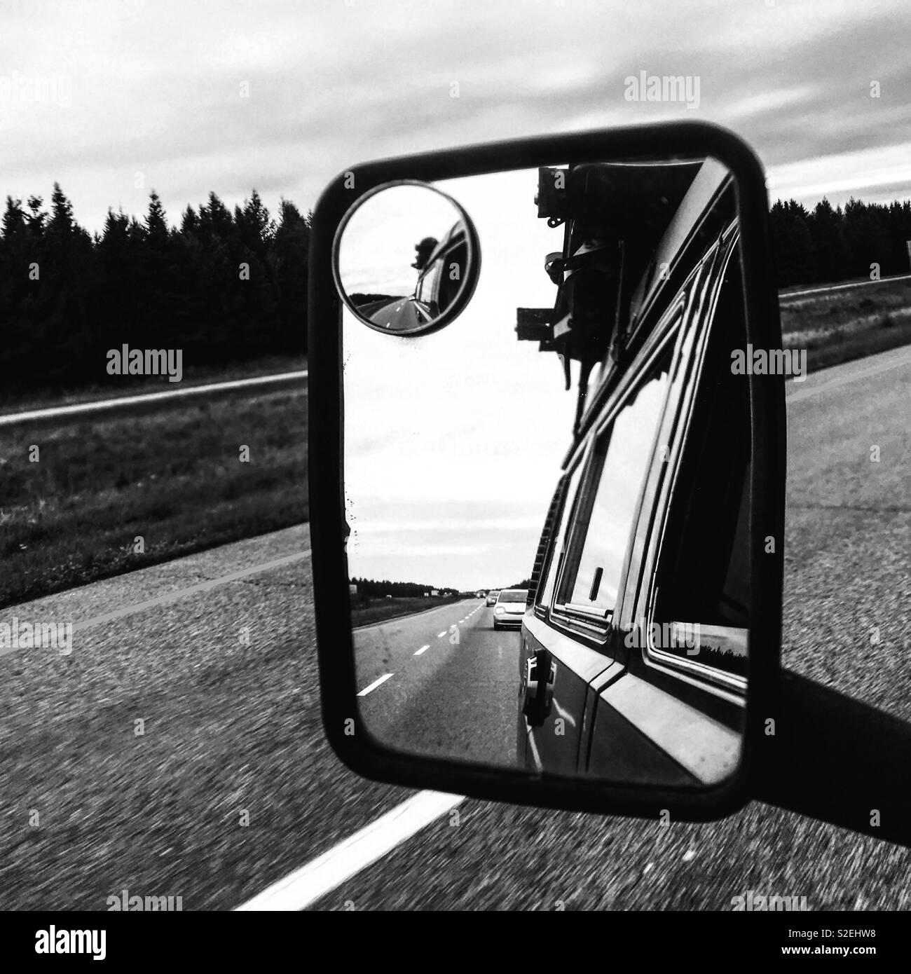 Roadtrip in a westfalia Stock Photo