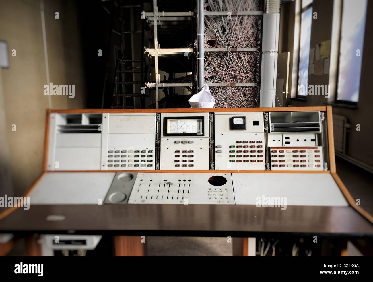 Abandoned outdated telecom network relay station for internet distribution - Stock Image