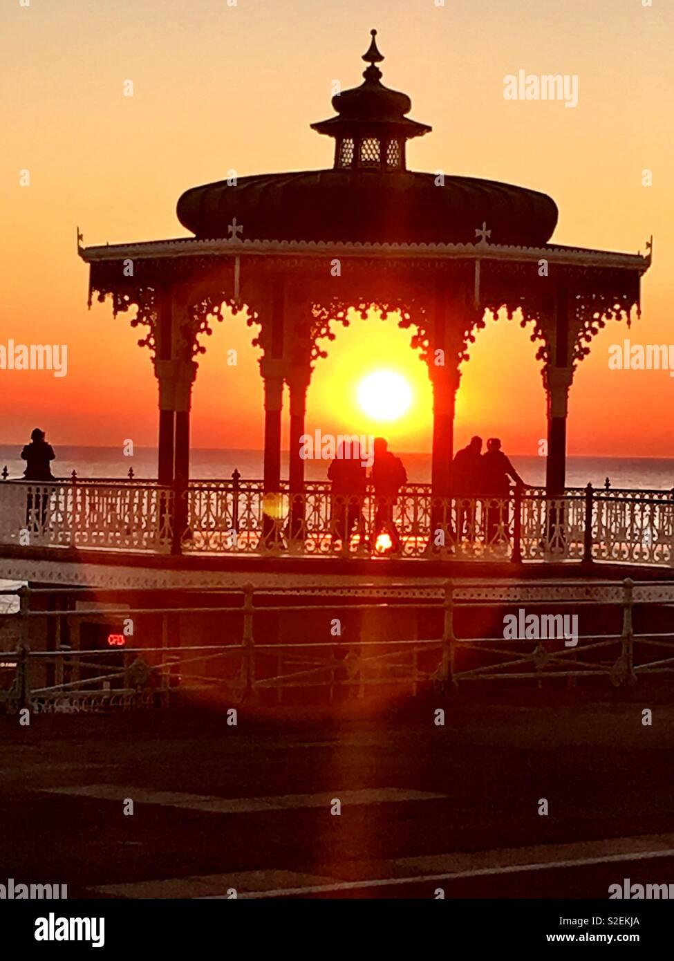 Sunset  bandstand, Brighton , beach - Stock Image