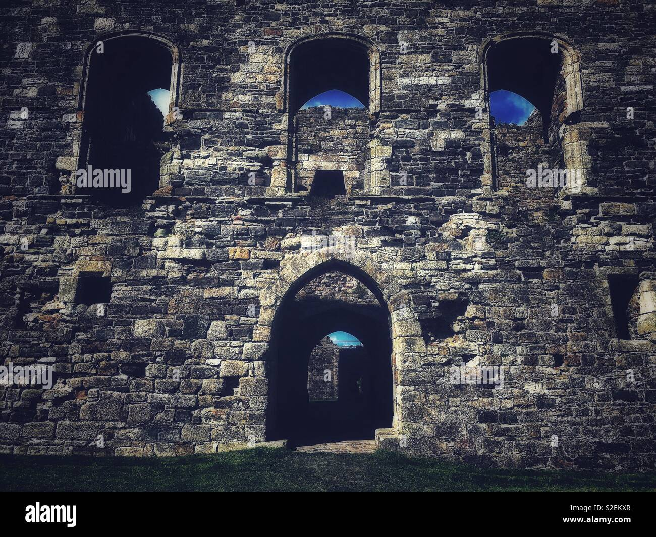 Medieval castle in Beaumaris, Anglesey - Stock Image