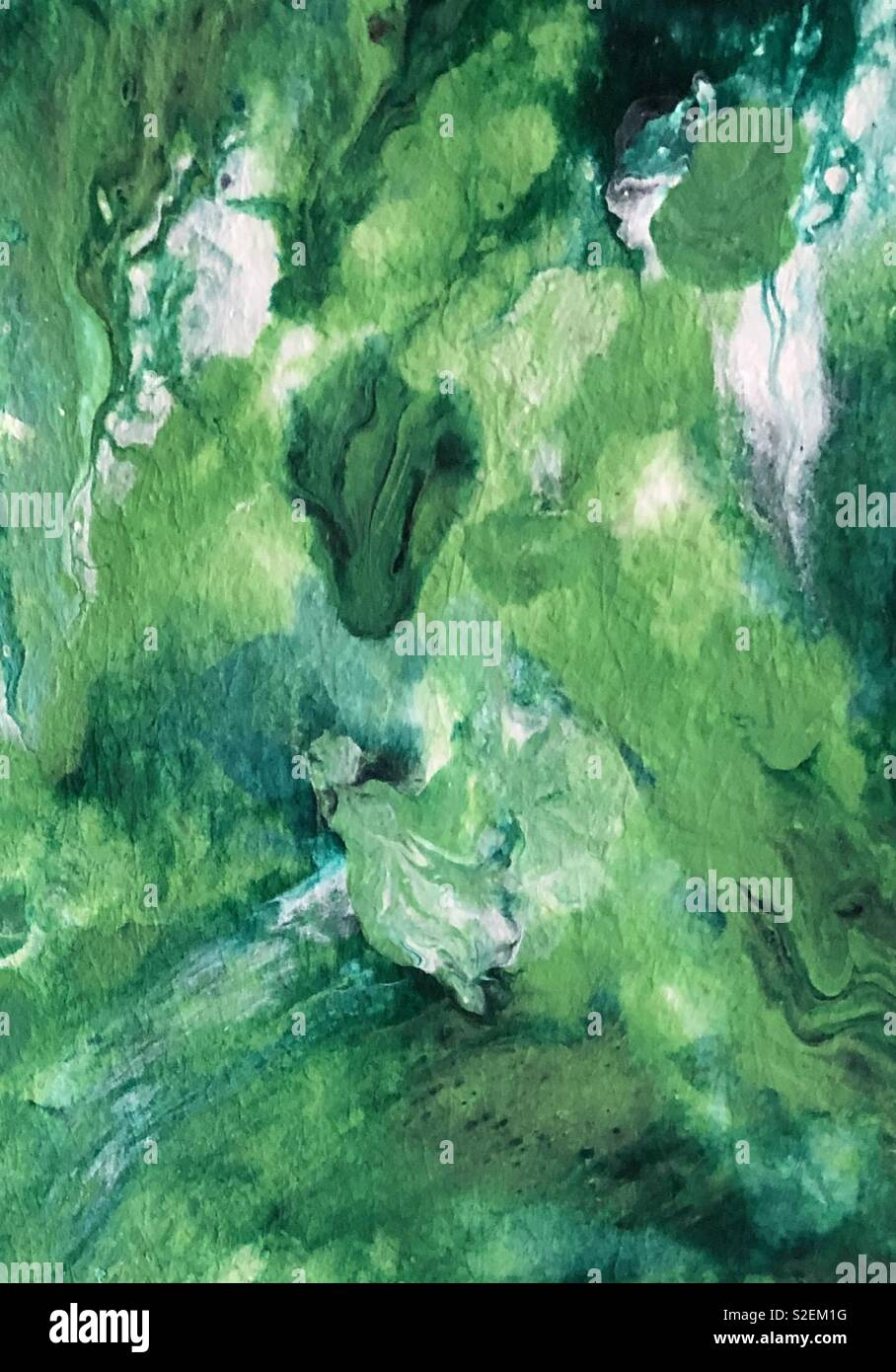 Vibrant greens abstract painting for copy space and backgrounds - Stock Image
