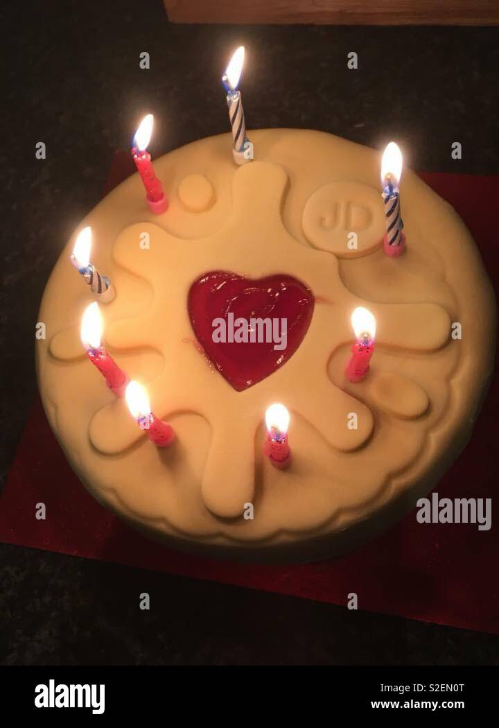 Peachy Jammie Dodger Birthday Cake Stock Photo 311339752 Alamy Funny Birthday Cards Online Benoljebrpdamsfinfo