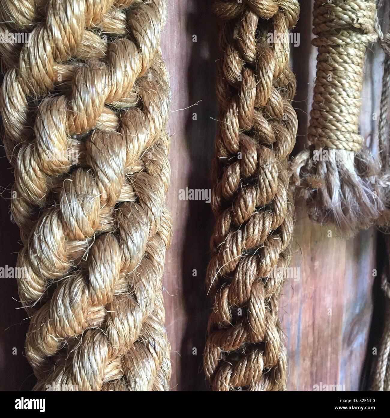 Boating ropes - Stock Image
