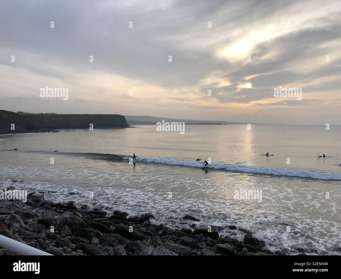 Winter Surfing, Wild Atlantic Way, Ireland - Stock Image