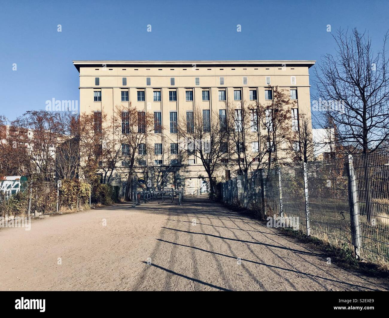 The building of world-renowned club 'Berghain' in Berlin by day. - Stock Image