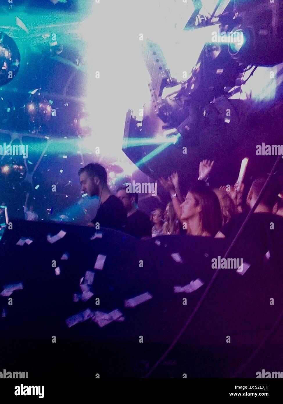 Calvin Harris DJ'ing at the Hakkasan nightclub in the MGM, Las Vegas, USA - Stock Image