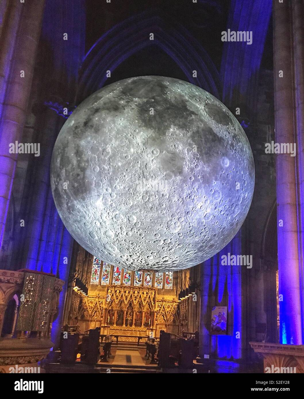 Museum of the moon at Doncaster minster - Stock Image