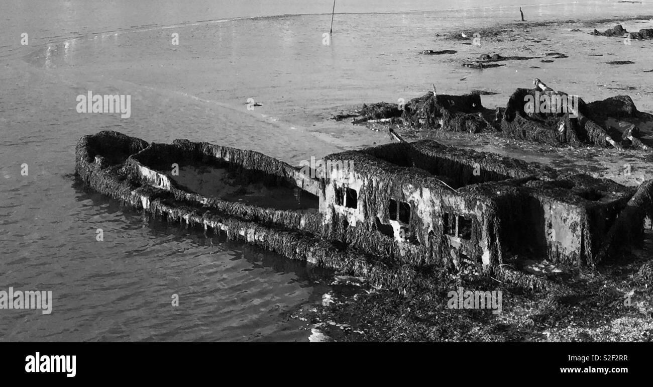 Deserted Sunken Boat - Stock Image