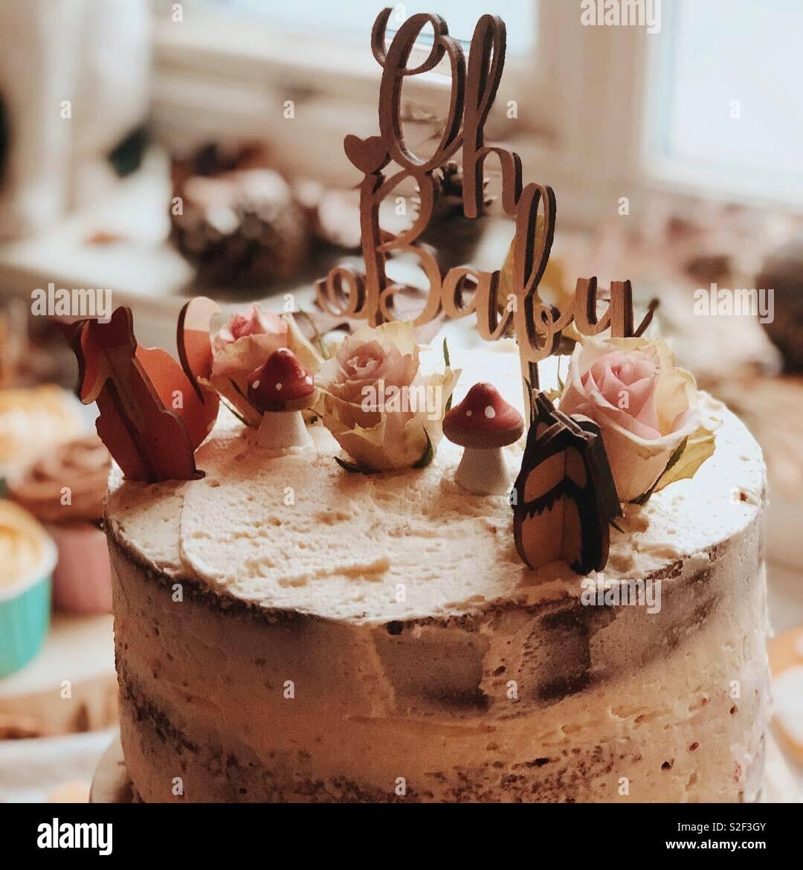 Baby shower cake 'oh baby' - Stock Image