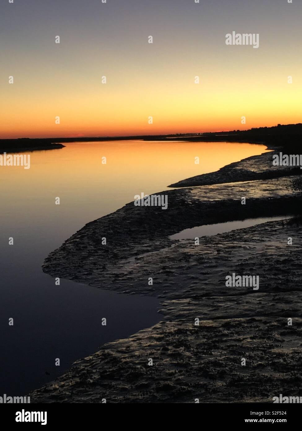 Sunset Algarve Portugal Santa Luzia Stock Photo