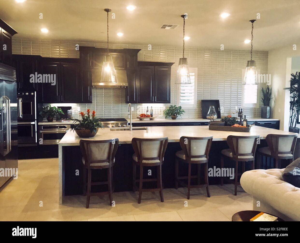 Beautiful homes in USA, America. ly kitchen with bright lights ... on large kitchen island with seating and granite, light cherry kitchen with granite, verde butterfly granite, light venetian gold granite, light brown granite countertops, light brown wood cabinets kitchens, kitchen dark cabinets light granite,