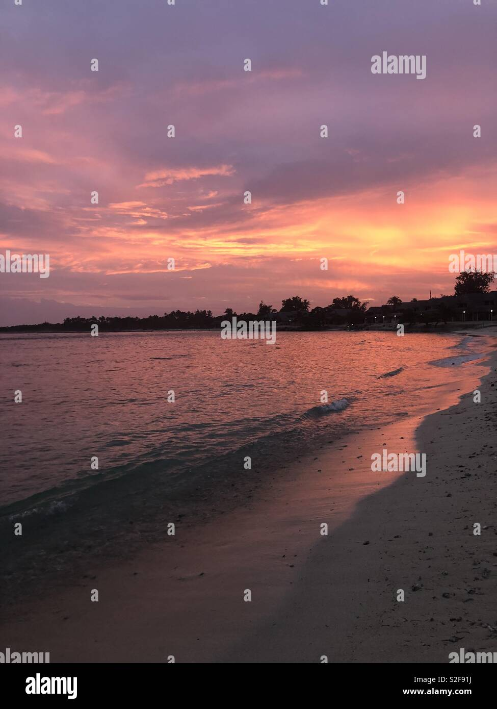 Fiery sunset, Vanuatu - Stock Image