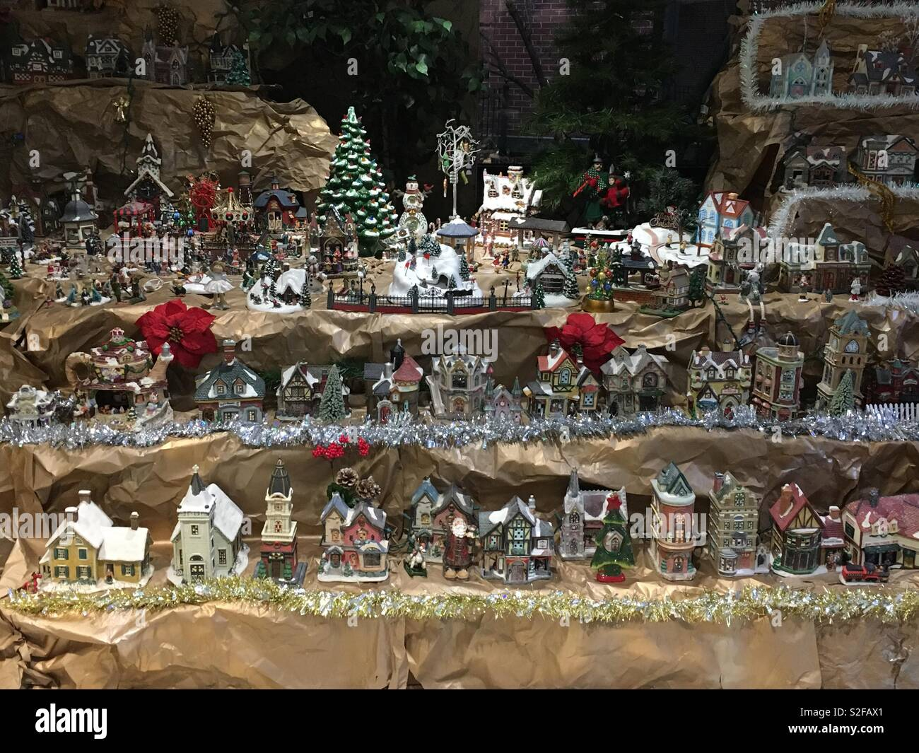 Super Cute Miniature Christmas Village Holiday Decorations Stock
