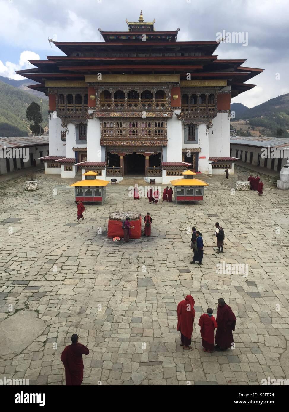 Buddhist monastery in Phobjika Valley, Central Bhutan - Stock Image