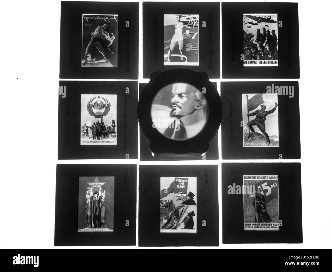 Political propaganda posters from the Soviet Union 1933-1942 - Stock Image