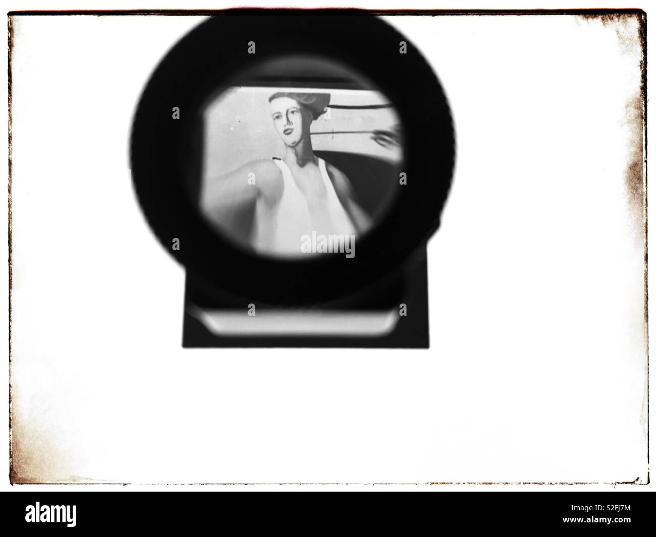 Soviet era political propaganda poster from the 1930's viewed on a slide on a Lightbox - Stock Image