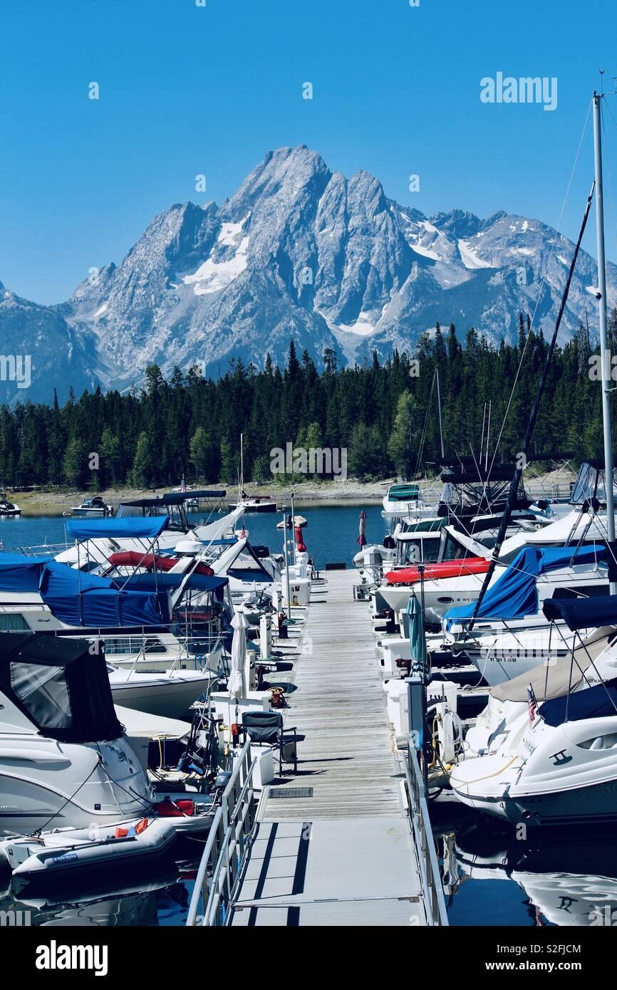 Grand Teton National Park Colter Bay Marina Jackson Lake Stock Photo