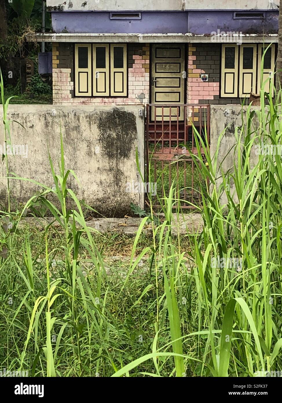 Geometrical house, a gray wall and high grass in the front - Stock Image