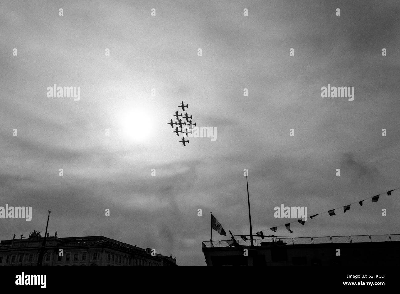 Black and white during the air show  in Trieste - Stock Image