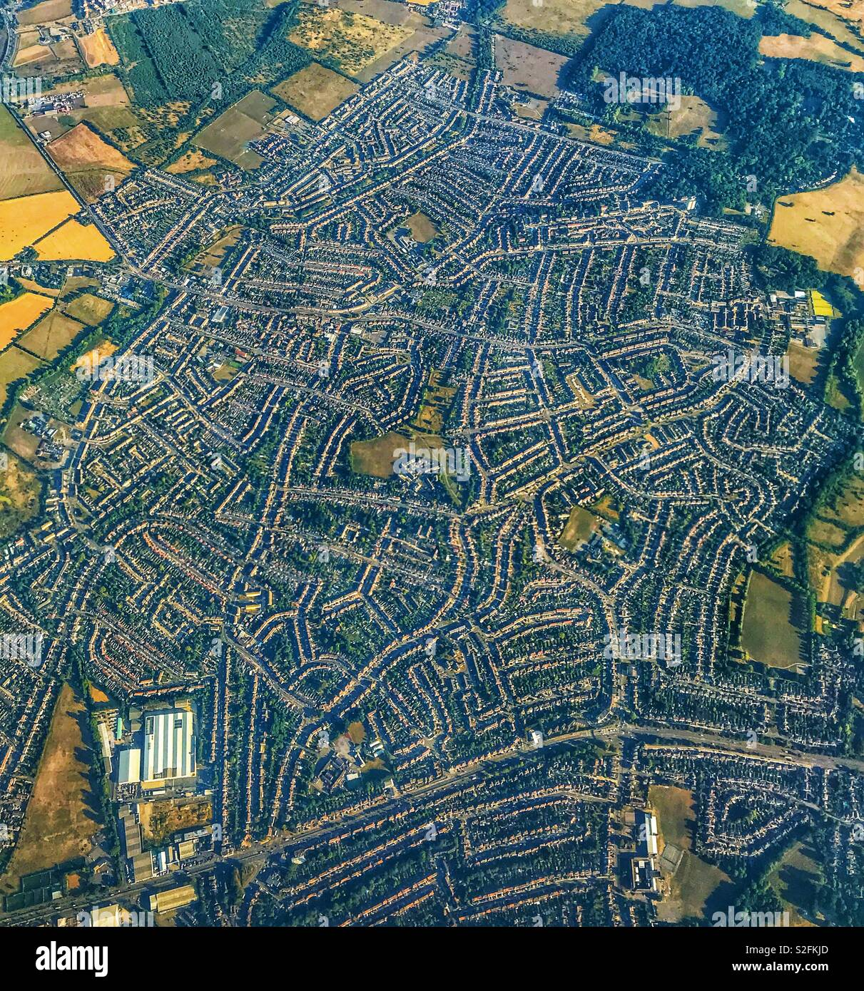 Aerial view of a large housing estate on the outskirts of London - Stock Image