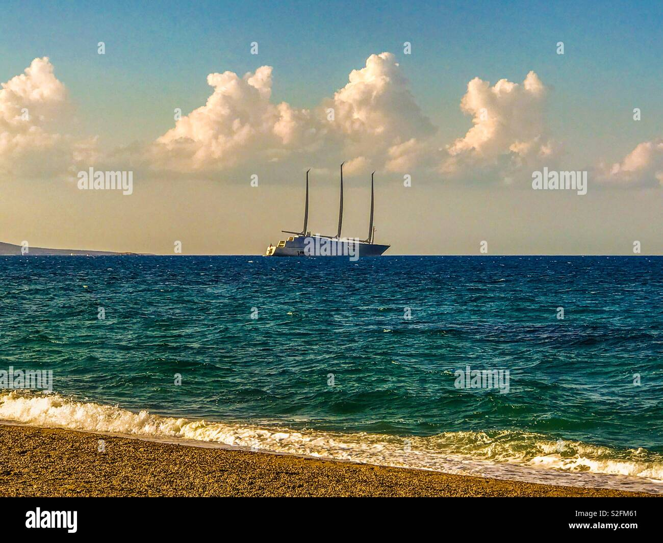 Super yacht anchored off Polis, Cyprus - Stock Image