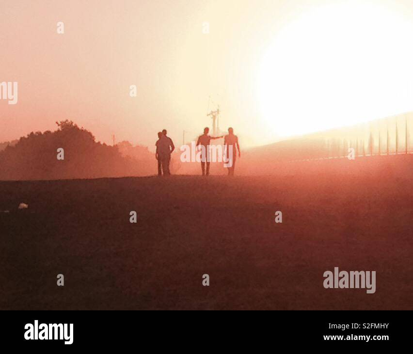 Sunrise & Friendship Stock Photo