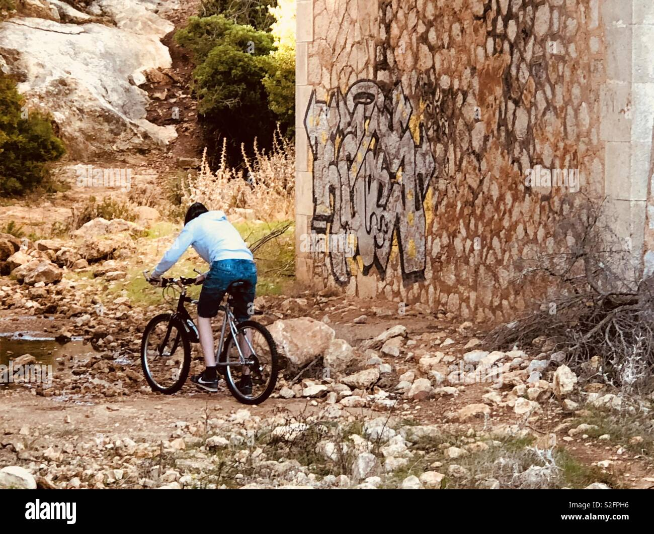 Cyclist on dirt trail under bridge - Stock Image